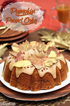 This Cinnamon Swirl Pumpkin Pound Cake is the ultimate fall dessert! Moist and flavorful, it has a rich cinnamon swirl, a delicious brown sugar frosting, and gorgeous chocolate leaves! | From SugarHero.com