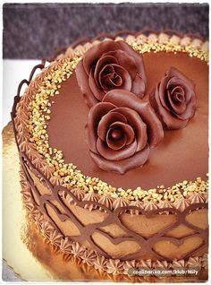 Chocolate Cake with Chocolate Modeling Roses