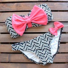 chevron bikini bow neon pink & black