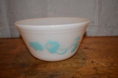 SALE!!! Vintage FEDERAL Glass Mixing BOWL. Fruit Pattern. Aqua on White Glass. Unique Design. by GottaBuyVintage on Etsy https://www.etsy.com/listing/203086289/sale-vintage-federal-glass-mixing-bowl