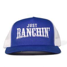 72cb0fcb243a6 Just Ranchin Blue   White Meshback Snapback