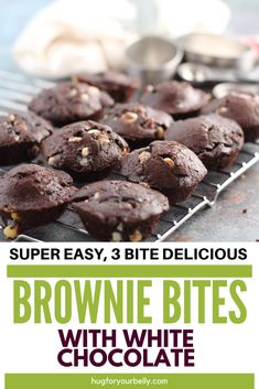 Moist and fudgy, these brownie bites are a perfect treat! White chocolate throughout gives it a kick up another notch, too! #brownies #homemadebrowniebites #browniebitesrecipe Desserts Without Eggs, Easy No Bake Desserts, Delicious Desserts, Chocolate Treats, Chocolate Recipes, Homemade Snickers, Homemade Brownies, White Chocolate Ingredients, Brownie Bites Recipe