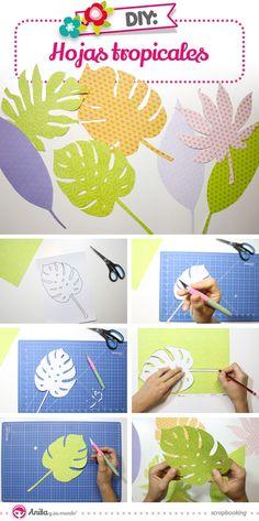 Entra en este tutorial y descarga ya las plantillas con 7 modelos de hojas tropicales.  Solo tendrás que descargar, dibujar sobre papeles estampados de scrapbooking y recortar con mucho cuidado. Después vendrá lo más divertido decorar tu casa con todas estas hojas de colores.   Por cierto, me encantaría ver tu decoración utiliza el hashtag #AnitaCreaciones en tus redes.  #ManualidadesPapel #Anitaysumundo #hojasdepapel Diy And Crafts, Crafts For Kids, Paper Crafts, 23rd Birthday, Pony Party, Safari Party, Tropical Party, Animal Decor, Spring Crafts