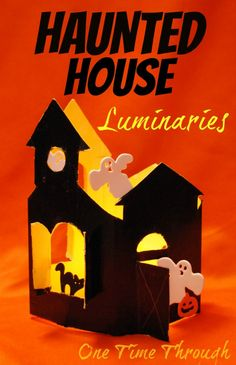 Adorable and spooky luminary haunted houses to decorate and light up a window for Halloween! Tons of fun to make and decorate. A great craft for kids of all ages from One Time Through. #hauntedhouse #kidscraft #Halloween