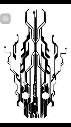 Digital flaming cyber skull by neogzus cier, tech tattoo, tattoo art, body art Bild Tattoos, Body Art Tattoos, Tattoo Drawings, Sleeve Tattoos, Tatoos, Circuit Tattoo, Biomech Tattoo, Tech Tattoo, Tattoo Arm