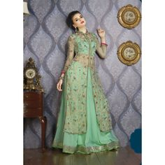 Green Net Indian #Anarkali Suits With Dupatta- $85.16