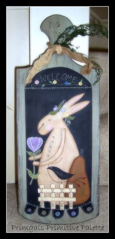 Primitive Spring Bunny Wood Cutting BoardHandpainted by Primgal