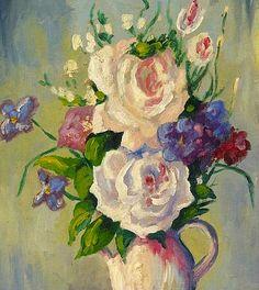 "Martha Walter ~ ""Spring Flowers"", detail ~ 20th century"