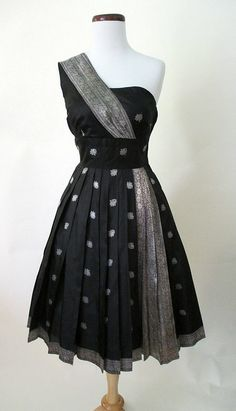Exotic 1950's Black & Silver Party Cocktail Dress w/ Indian Sari Motif Shelf…