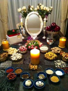 ♥ Persian new year. Nooruz - Haft-seen is the table settings for the Persian New Year. Each item is symbolic of elements in nature that nourish and sustain us. One of the traditional items among many is a MIRROR. The mirror is said to represent the sky (reflection).