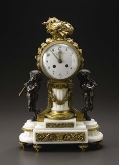 A Gilt Bronze, Bronze and White Marble Mantle Clock for Tiffany & Co. Dial: Tiffany & Co., New York, New York; Clockworks: France Early Twentieth Century Gilt Bronze, bronze, marble