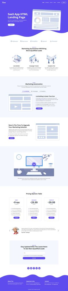 Tivo is a free HTML SaaS Landing Page template built by Inovatik. Free Html Templates, Page Template, Website Template, Best Web Design, Site Design, Presentation Websites, Resume Format Download, Landing Page Html