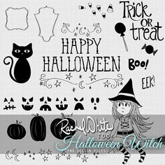 Halloween Witch Vector Illustrations - 59 images - AI EPS PNG - Instant Download | rachelwhiteart