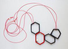 Geometric bib necklace of wood statement necklace by tanukdolotova