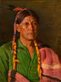 Artwork by Joseph Henry Sharp, Portrait of Jerry (Elkfoot), Taos, Made of oil on canvas laid on board kp