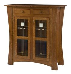 Amish Arts and Crafts Two Door Cabinet with Glass Panels