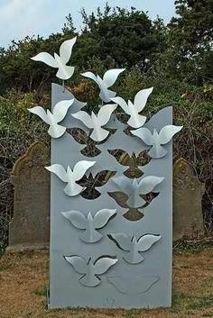 aplicaciones metal pajaros volando decoracion