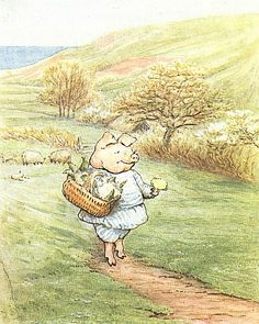 The Tale of Little Pig Robinson - Wee, wee, wee! answered Robinson, etting off with the big basket.