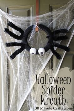 Make your own Halloween Spider Wreath with just a few simple supplies!