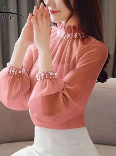 Spring New Chiffon Blouse Long Sleeve Womens Tops And B Stylish Dresses For Girls, Stylish Dress Designs, Stylish Tops For Women, Trendy Outfits, Girls Fashion Clothes, Fashion Outfits, Ladies Fashion Tops, Red Clothing, Ladies Tops