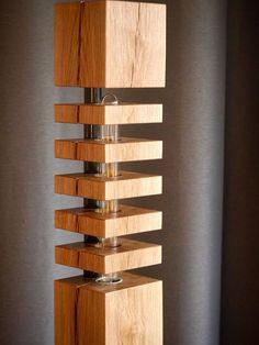 Moderne Massivholz Stehlampe - Design No1-F-LS150 mit Aluminiumständer Vollholz Eichenbalken In den 5 Holzscheiben versteckt sich eine 360 Grad leuchtende LED Filament Leuchte mit warm-weißem Licht *********** + Bauart: Stehlampe, Stehleuchte + Holzart: Eiche rustikal + Höhe: 150 cm