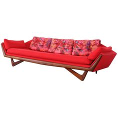 Adrian Pearsall for Craft Asssociates Sofa, Mid Century Modern Sofa, Mid Century Decor, Mid Century Design, Vintage Sofa, Vintage Furniture, Furniture Design, Wood Furniture, Adrian Pearsall, Red Sofa