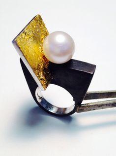 Heidi Abrahamson Oxidized Sterling, 23kt Gold Leaf, 14mm Pearl Ring