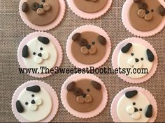 Puppy Dog Birthday Fondant Cupcake Toppers Pawty Cake Topper Includes 12 fondant cupcake toppers. Dog colors may be changed upon request, as well as the disk color. Please include event date in the notes section of your order. While fondant is 100% edible, these pieces are for