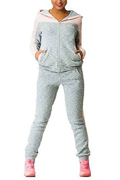 new product 47abc 57e25 C H Women s Fitness Slim Athletic Contrast Color Hoodie Tracksuit Set