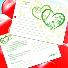 Hochzeitsspiele - Ballonflugkarten Liebe - Flugkarten für die Hochzeitsballons