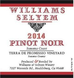 2014 Williams Selyem Pinot Noir Terra de Promissio Vineyard