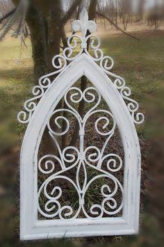 White Frame Garden Home Architectural Salvaged Find Piece Vintage Church Window Look Home Decor Rococo French