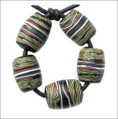 Venetian ribbon glass beads. | Used in the African trade circa late 1800's, early 1900's.