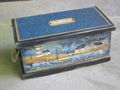 "great for storing small stuff! Cynthia Erekson ""Reflections of the Past Patterns"" Tole Painting, Painting Patterns, Landscape Paintings, Folk Art, Art Decor, Nautical, The Past, Decorative Boxes, Christmas Decorations"