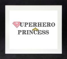 Superhero Princess Print Girl Superhero Wall Art by NothingPanda, $11.00