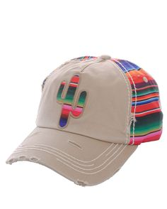 Serape Aztec Western Trucker Baseball Cap Hat Khaki Cowgirl 100% Cotton  #SP #TruckerBaseball