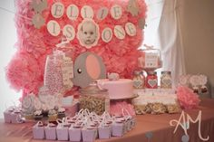 Pink Elephant 1st Birthday Party - Hand Made Banner with Baby's Photo in the center. @Tiffany Ollhoft