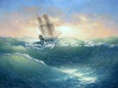 handmade seascape oil painting on canvans boat scenery art painting  BOAT1302 60x80cm US $88.00