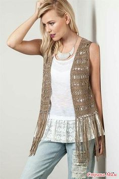 Moda Crochet, Pull Crochet, Gilet Crochet, Crochet Vest Pattern, Crochet Fringe, Crochet Shirt, Crochet Jacket, Knit Vest, Crochet Cardigan