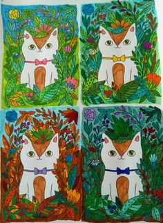"""Vier seizoenen/Four seasons""  #ArtbyGnoom #GnoomsweetGnoom #Cats #kvv"