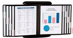 Flip & Find E-Z Wall Display Document Display Carousel by AIData : ErgoCanada - Detailed Specification Page Office Supply Organization, Desktop Organization, Paper Organization, Organizing Life, Organizing Ideas, Desk Tray, Desk Set, Printer Stand, File Organiser