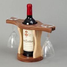 Resultado de imagem para wood wine glass holder over a wine bottle Wine Bottle Glass Holder, Bottle Display, Wine Glass Holder, Wooden Wine Holder, Wine Rack Design, Wine Dispenser, Rustic Wine Racks, Woodworking Projects That Sell, Wine Carrier