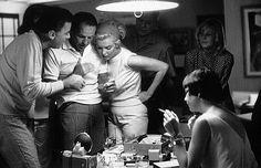 Frank Sinatra, M. Monroe, M. Britt, P. Kennedy, P. Lawford at their Santa Monica Home c. 1960