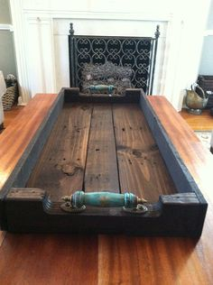 Large Reclaimed Dark Stained Pallet Wood Serving Tray/ Shoe Tray with Turquoise Blue Handles