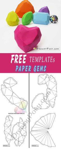 Paper gems free templates and tutorial, 3D paper gems, #papergems #papercraft #freetemplate