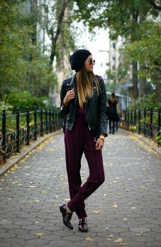 I love the patent oxfords, plum, and leather jacket with the slouchy hat!