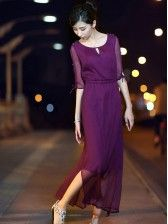 Korean Style     Pleated     Round Collar     Chiffon Dress