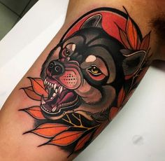 Neo Trad Wolf Tattoo by Andre Limited Availability @ Revelation Tattoo Studios N. Eagle Tattoos, Dog Tattoos, Animal Tattoos, Fish Tattoos, Tattoo Life, Neo Tattoo, Wolf Tattoo Design, Tattoo Designs, Tattoo Wolf