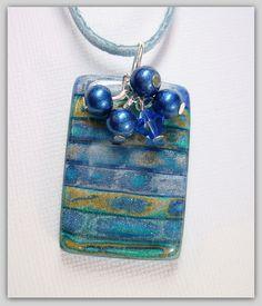 Denim Blue Distressed Pendant-$18.00