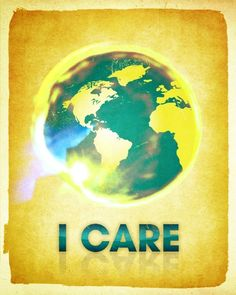 I CARE / 8x10 typographic Art Print / Positive and Earth Conscious (golden version)